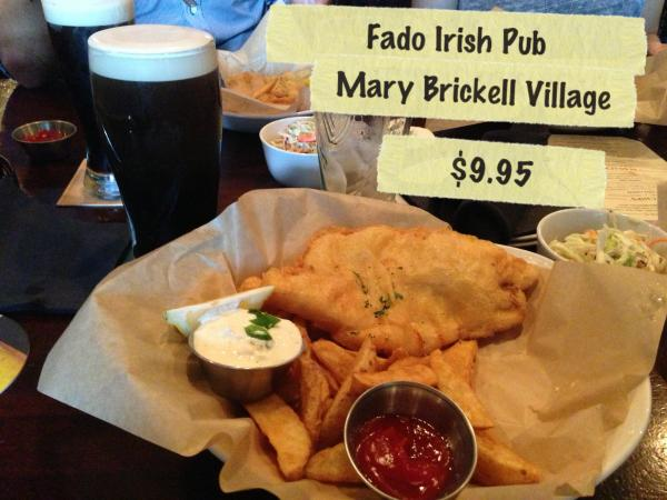 Half order of fish and chips from Fado Irish Pub.