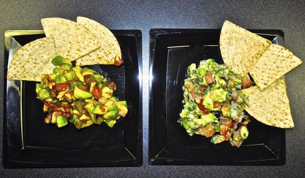 Guacamole made with Florida-grown avocados is on the left.