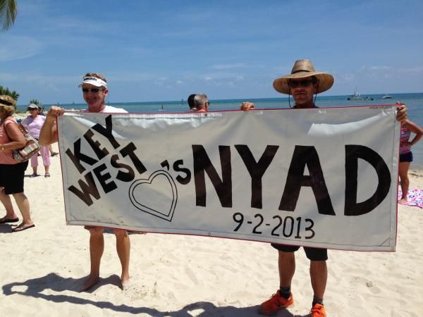 Key West residents welcome record-breaking swimmer Diana Nyad after her 111-mile swim from Havana, without a shark cage.