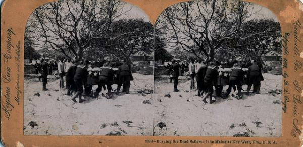 U.S.S. Maine soldiers being buried in Key West Cemetery, shown in stereoview, which produced a 3-D effect.