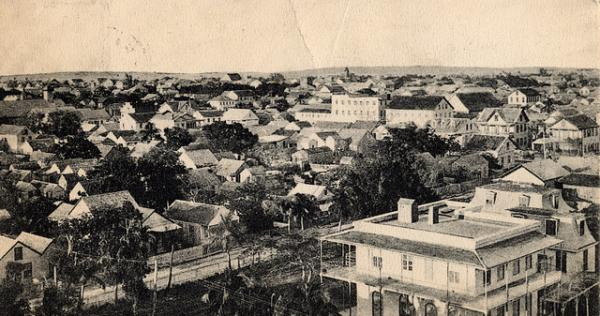 Postcard view looking northwest from the Key West Lighthouse, ca. 1870.