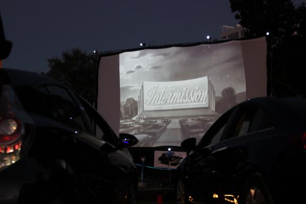 The Blue Starlite Theater attracted a small lot full of cars to watch classic film, Back to the Future.