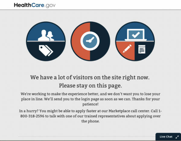 Many in Florida who tried to find out about health insurance plans - including journalists who wanted to explain it - got stuck with the page above.