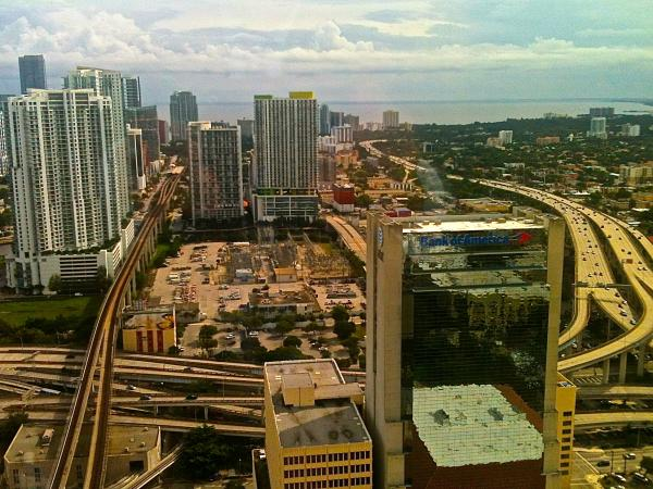 The view looking south from Mayor Gimenez's office at Government Center in Miami. He has a view of the booming Brickell neighborhood, one of the hottest real estate areas in South Florida.