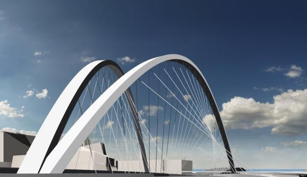 DOUBLE WISHBONE: An early idea for a signature bridge, it would have been called the 'Wishbone Arch.'