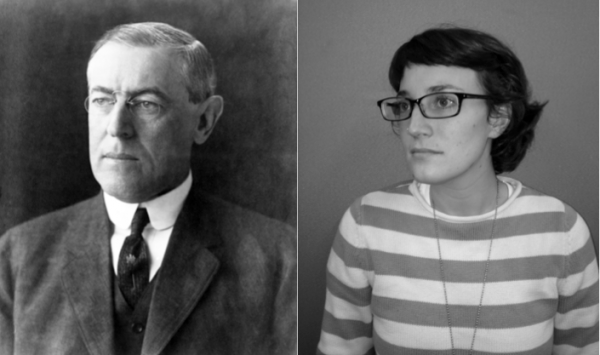 President Woodrow Wilson and his great-great-granddaughter, reporter Wilson Sayre.