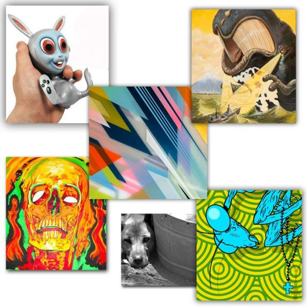 Visual artists donate their works to raise funds. From upper left to right: Collin Christian, Sas Christian, Francesco LoCastro, W Kelley Lucas, Skot Olsen, Rich Rethorn, and Jodi Turchin.