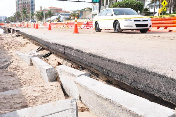 Fort Lauderdale's State Road A1A suffered serious damages from Tropical Storm Sandy.