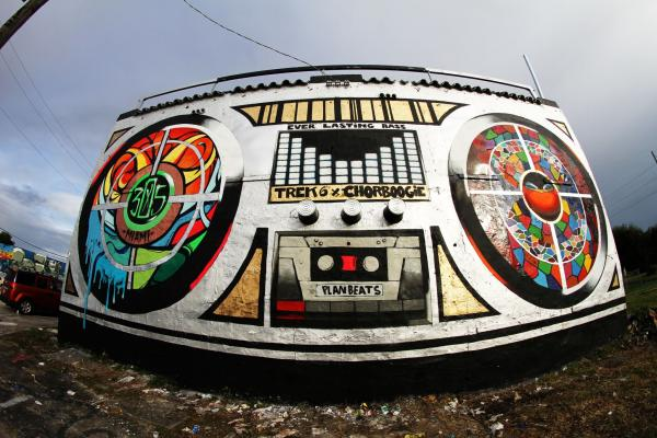 Check It: Chor Boogie and Trek 6 revamped the boom box mural for Basel 2013.