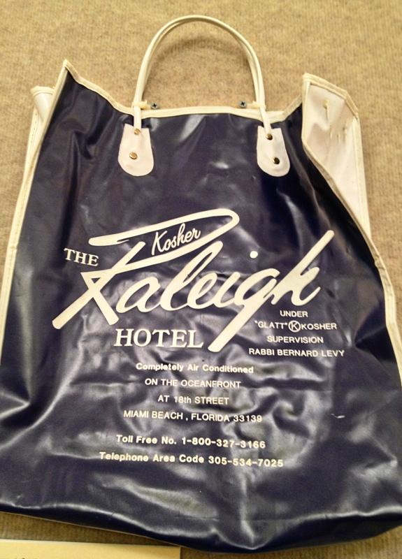 A bag from The Raleigh Hotel's early days as a kosher resort is also on display at the Jewish Museum.
