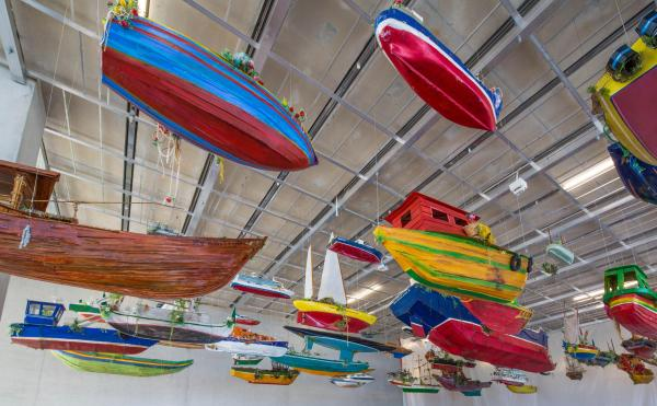 Hew Locke's installation, For Those in Peril on the Sea, in PAMM's lobby
