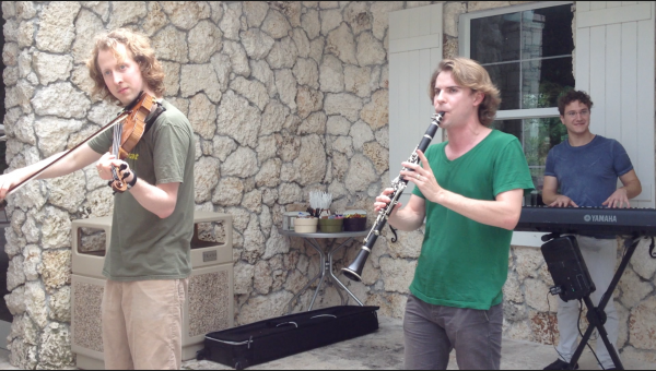 The Sixth Floor Trio performs at Fairchild. Pictured from left to right are Harrison Hollingsworth, Johnny Teyssier and Teddy Abrams.