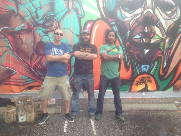 Jay Bellicchi, Trek 6, Ruben Ubiera (from left to right) took their skills to the wall at Bruce Webber Gallery.