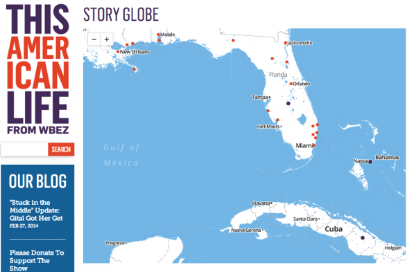 A slice of This American Life's Story Globe shows where some of the show's Florida stories took place.