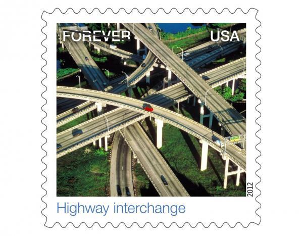 "Commuter misery turned postal art, the I-95/395 interchange was featured in the U.S. Postal Service's ""EARTHSCAPES"" collection of Forever Stamps in 2012."
