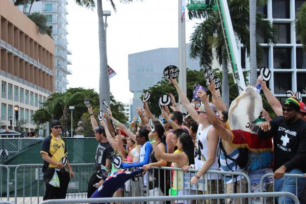 Ultra-goers waiting to be let into the festival.