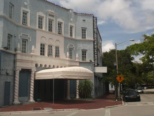 The historic Coconut Grove Playhouse was built in the Mediterranean Revival style.