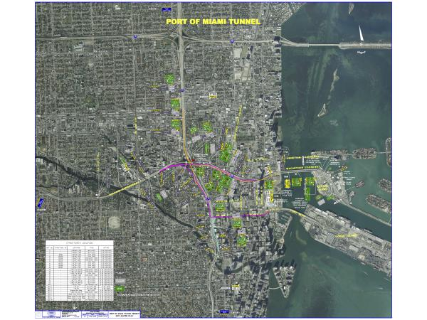 A high-resolution map showing all of the planned signage for the Port of Miami Tunnel Project. (Right-click to download.)