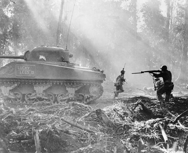 American infantrymen secure an area on Bougainville in the Solomon Islands. March 1944.