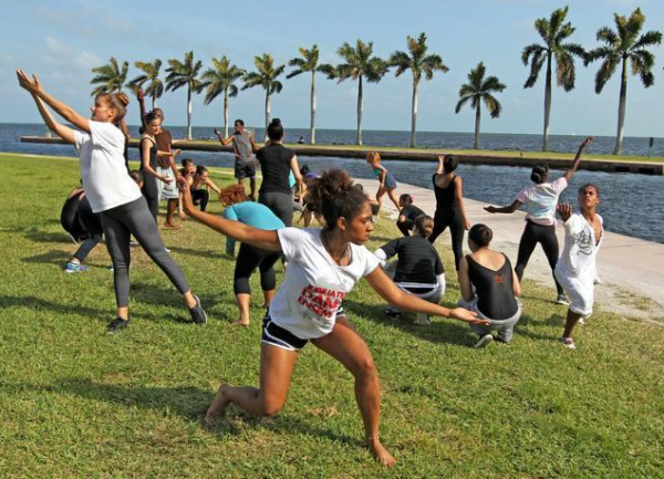 Student dancers rehearse the Water Project Dance at the Deering Estate on Tuesday, April 7, 2014.