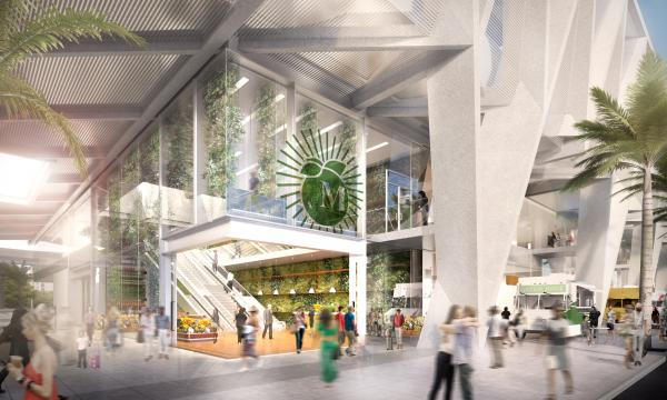 """MIAMI STATION: """"Floating"""" and """"shimmering"""" are two of the adjectives in All Aboard Florida's description of its Miami station and commercial complex. The tracks and terminal would be 50 feet in the air."""