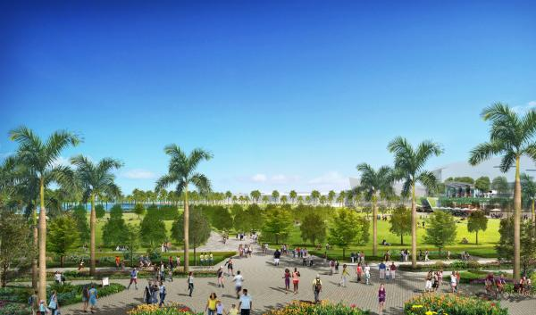 The plan would create continuous park space along the waterfront.