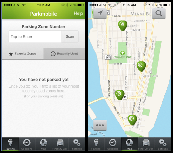 Parkmobile on the left and Parkme on the right are two new smartphone apps aimed at easing some of the stress of parking.