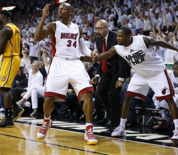 Miami Heats guard Ray Allen celebrates after scoring one of four three-pointers in the fourth quarter of Game 3 of the Eastern Conference Finals.