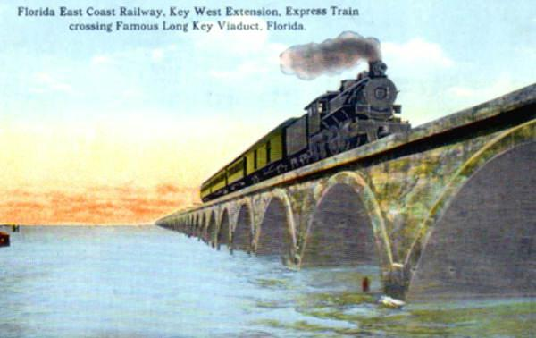 An image from Florida's last golden age of rail: A Florida East Coast Railway train crossing the famous Long Key Viaduct, Florida.