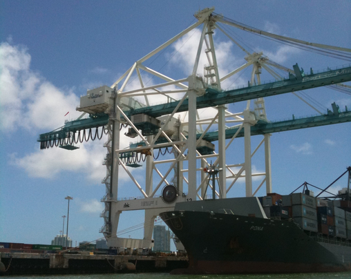 PANAMAXED: Giant new gantry cranes are deployed for the big ships at PortMiami. Port Everglades is preparing to widen and dredge to handle similar vessels.