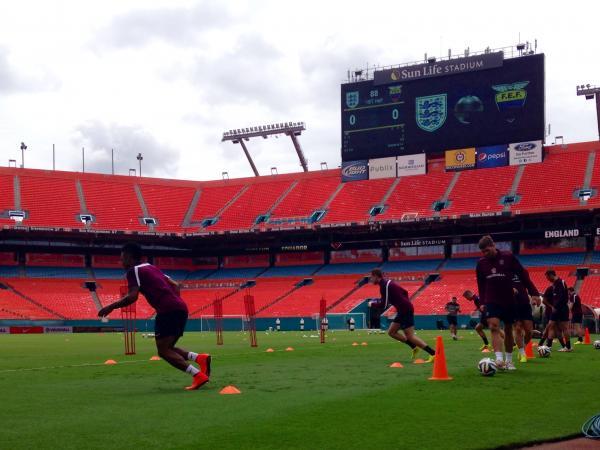 English national team practice at Sun Life Stadium.