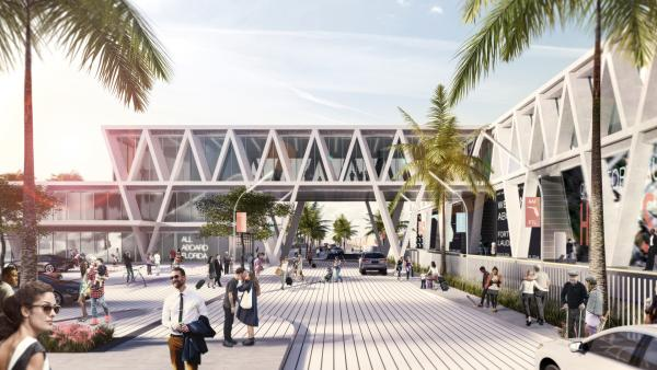 ARRIVAL: This is the ground approach to the proposed All Aboard Florida station in Fort Lauderdale. Architectural trusses are a design feature that will be echoed in all four of the railroad's stations.