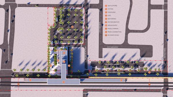 SITE MAP: Broward Boulevard is on the left. Click to enlarge.