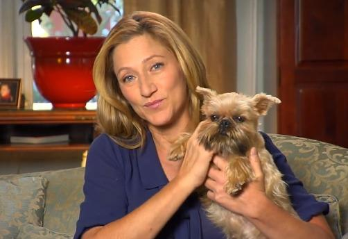 "Actress, Edie Falco and her beloved Sammie who was rescued from a puppy mill and now living in the ""lap"" of luxury."