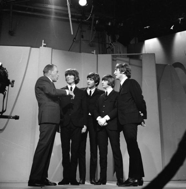 Ed Sullivan on the set with The Beatles in 1964.