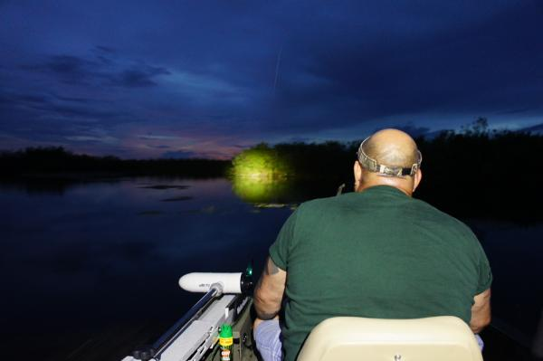 Andy Gonzalez uses his flashlight to look for alligators.