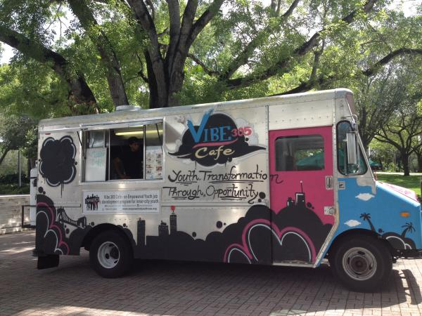 The Vibe 305 food truck is staffed by the young men participating in the Empowered Youth USA program.