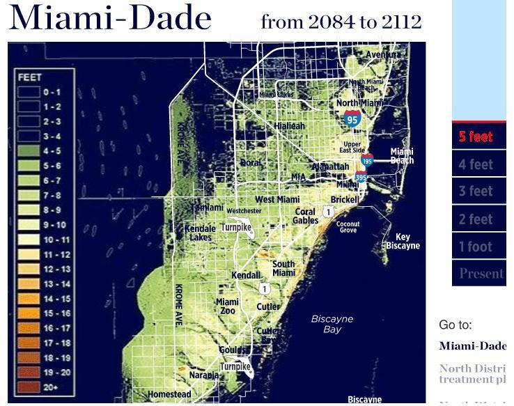 Sea Level Map Of Florida.Maps How Sea Level Rise Could Impact Miami Dade County Wlrn