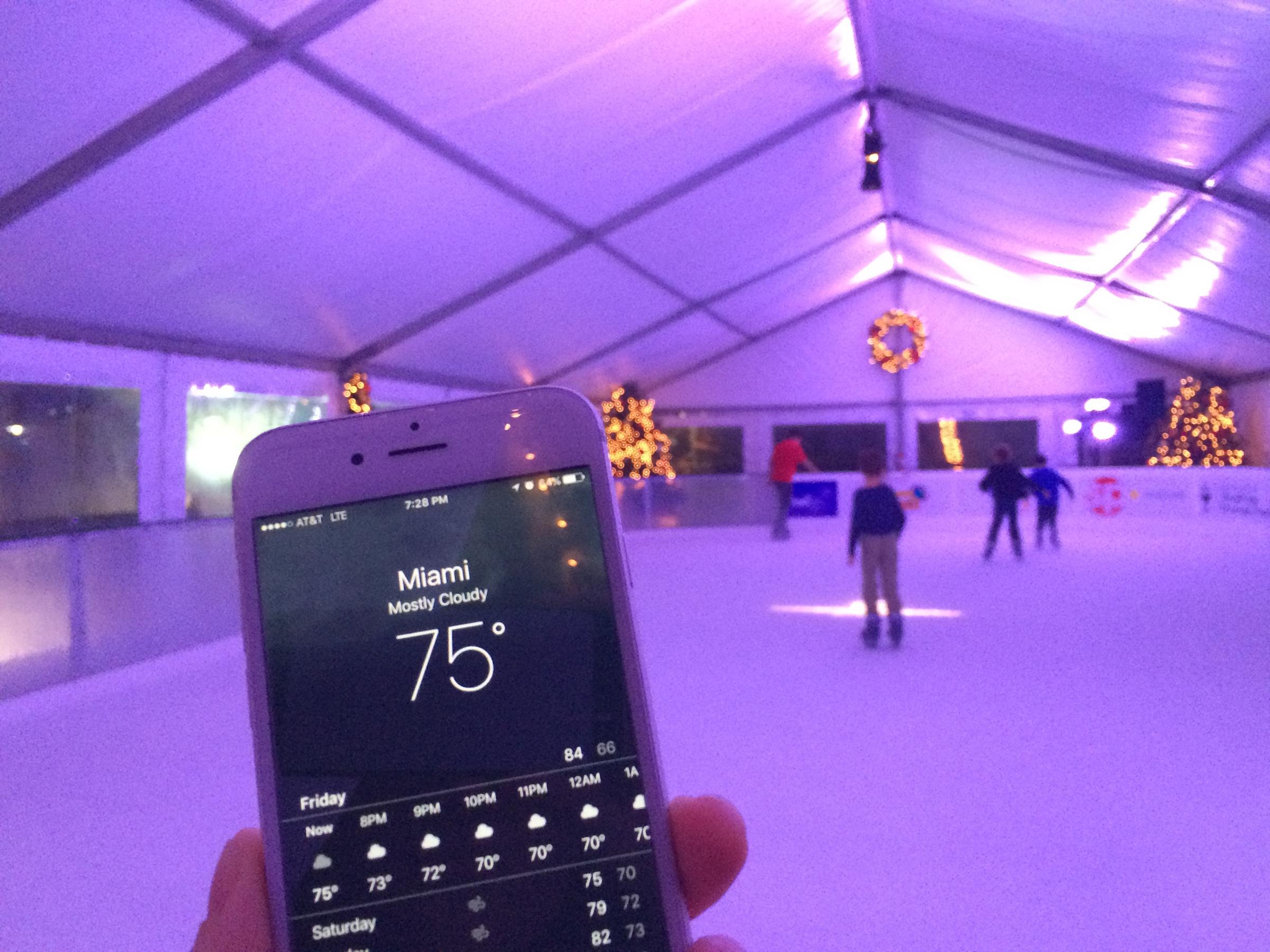 when miami zes over ice skating among the palm trees wlrn keeping ice frozen in 75 degree weather is not an easy or cheap feat
