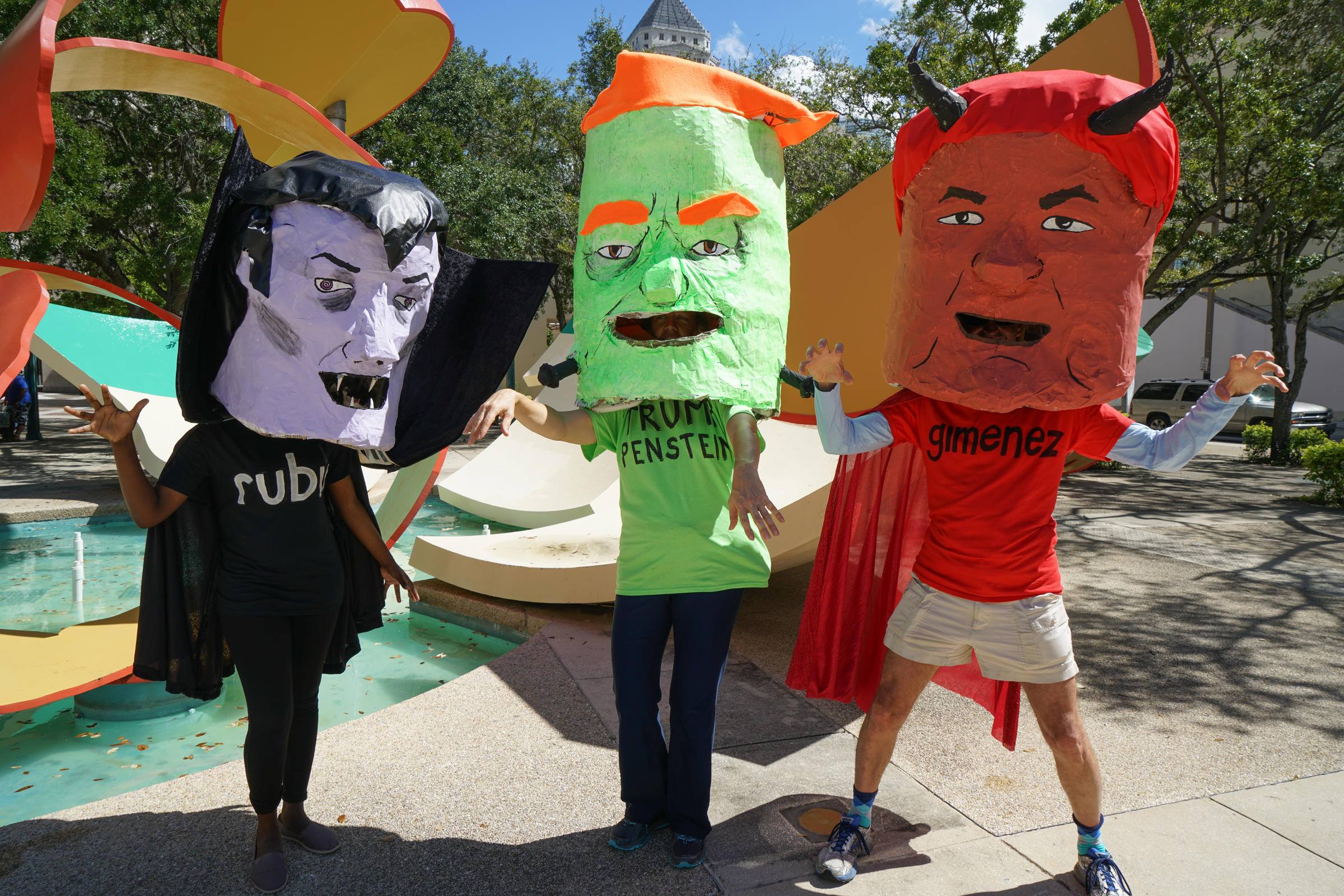 diverse concerns, halloween costumes highlight miami climate rally