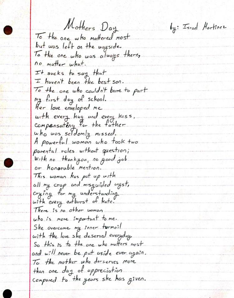 israel martinezs poem for his mom
