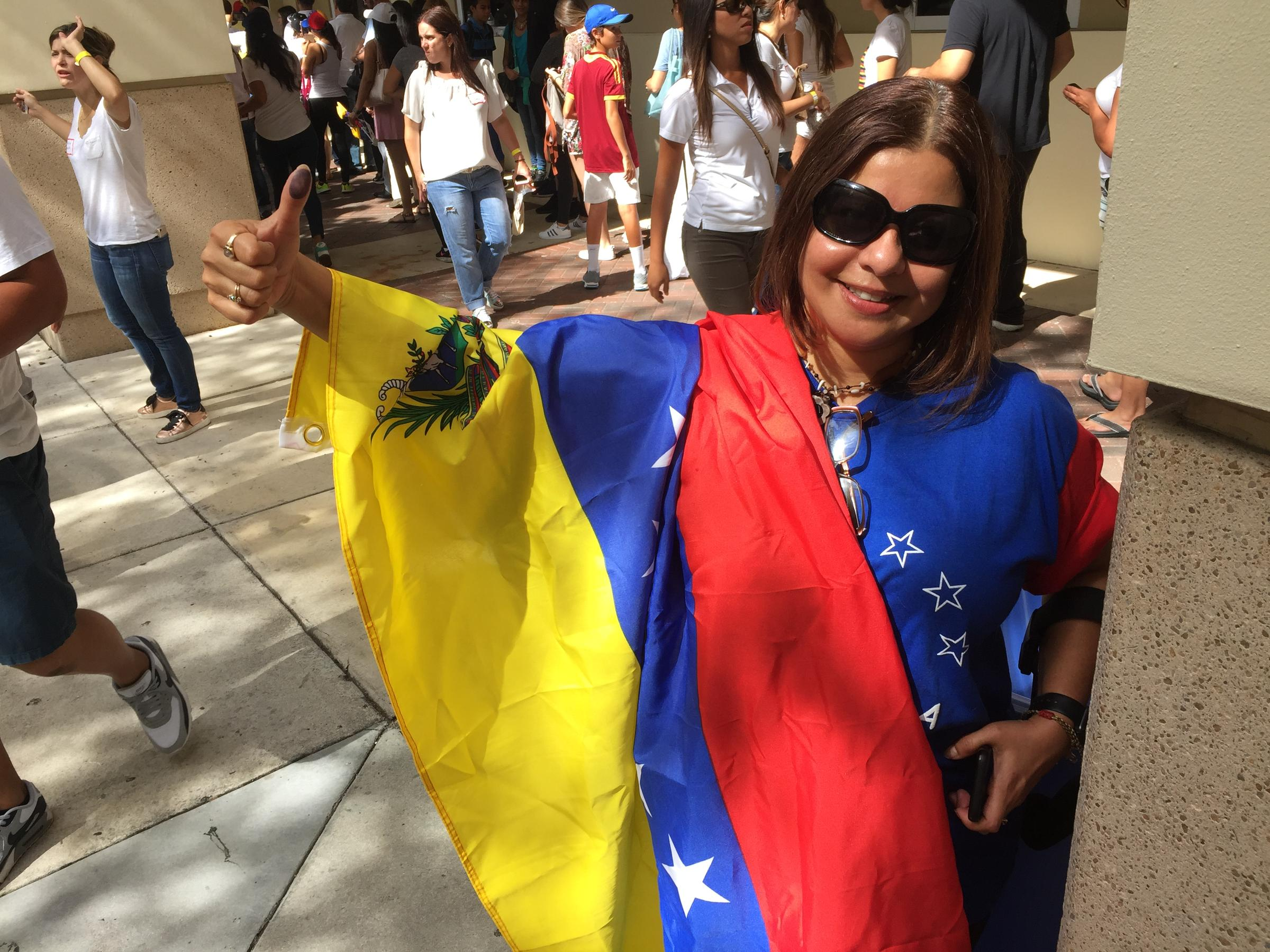 Venezuelan expat Patty Fucci after voting Sunday in Coral Gables