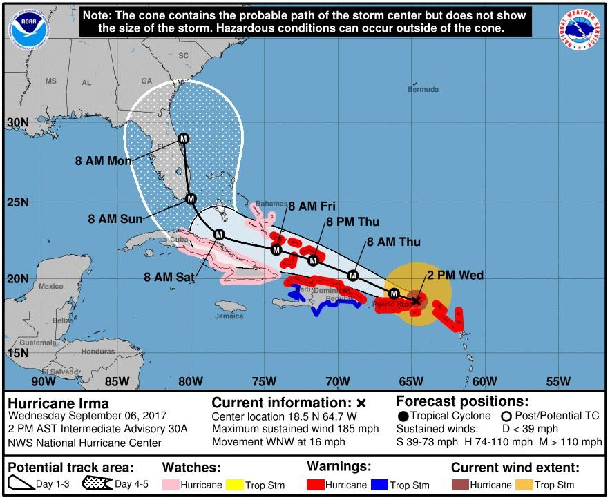 Hurricane Irma has winds up to 180 mph