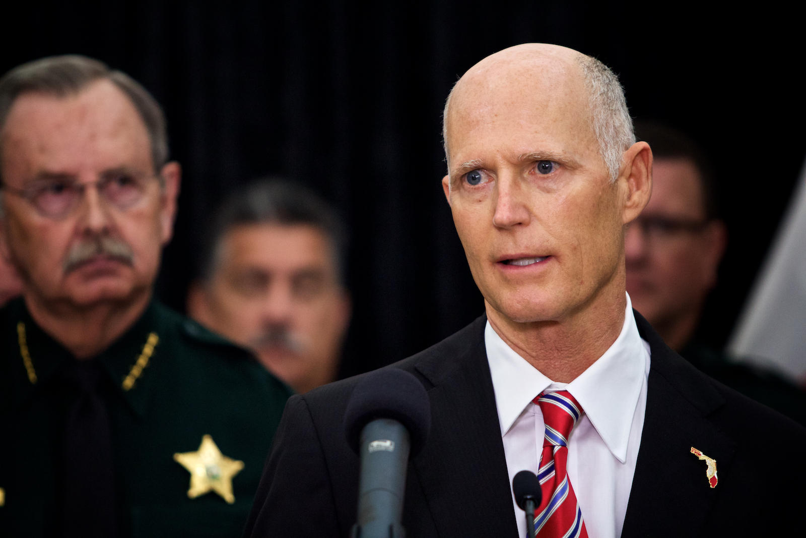 Gov. Rick Scott touts his $500 million school security reform package at the Palm Beach County Sheriff's Office