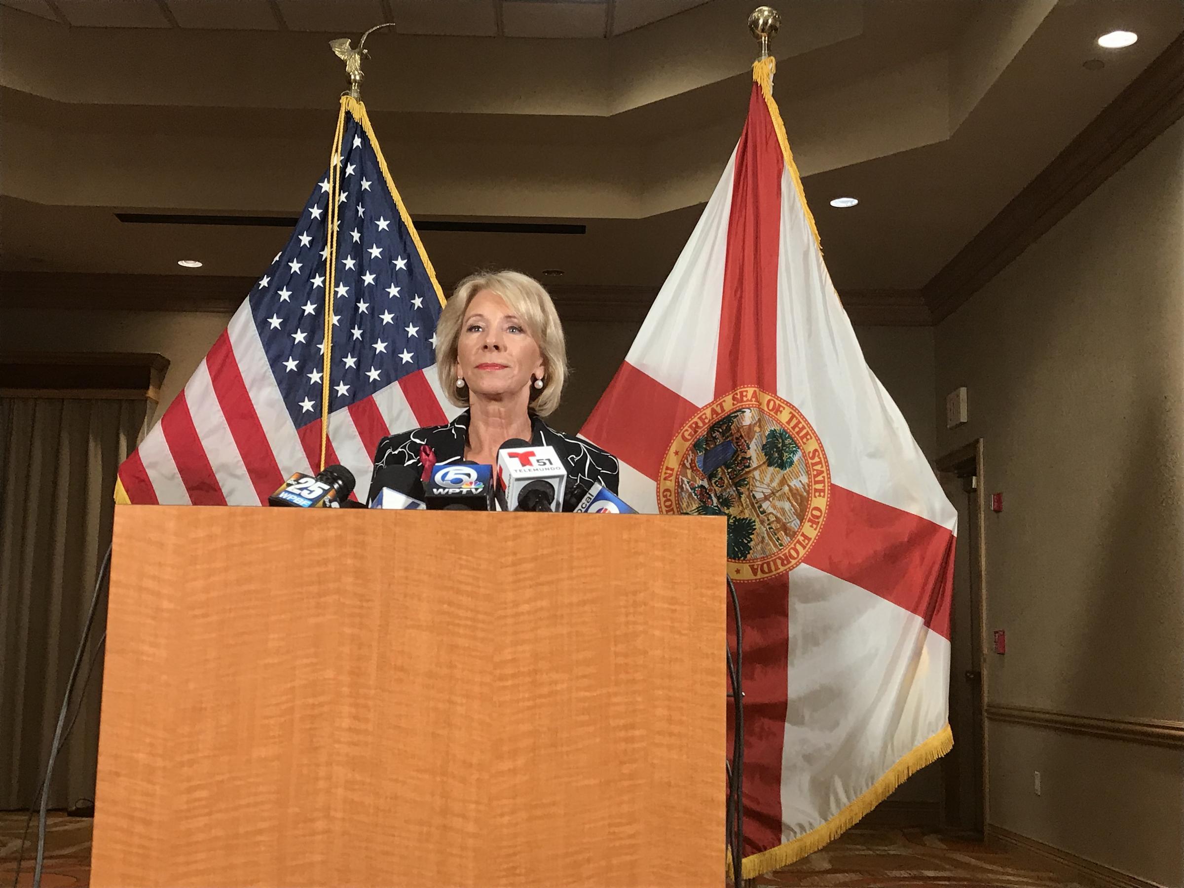 U.S. Secretary of Education Betsy DeVos spoke with the press following her  morning visit to Marjory Stoneman Douglas High School Wednesday. 806db81dff2d