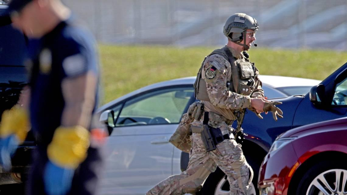 A Law Enforcement Officer Is Deployed At Parklands Marjory Stoneman Douglas High School Where 17 Students And Educators Were Shot To Death On Feb
