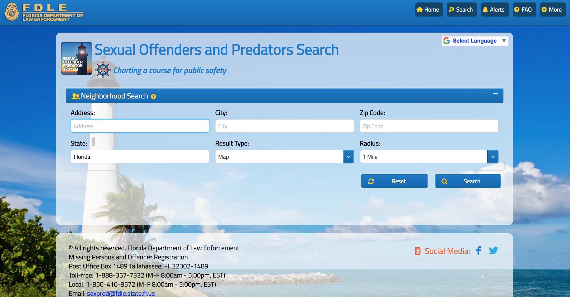 Florida state police sex offender registry