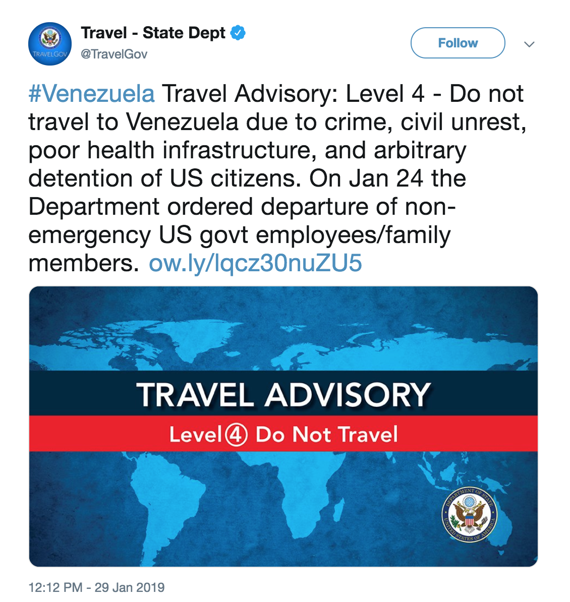 U S State Department Issues Do Not Travel Advisory About Venezuela Wlrn