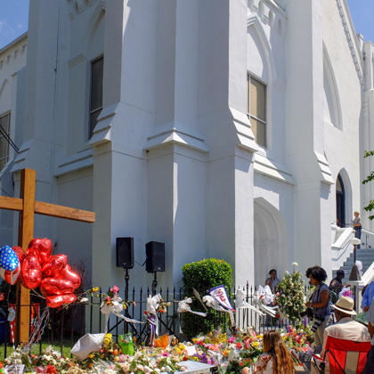 Memorials outside Emanuel A.M.E. Church in Charleston on Sunday, June 21, 2015.