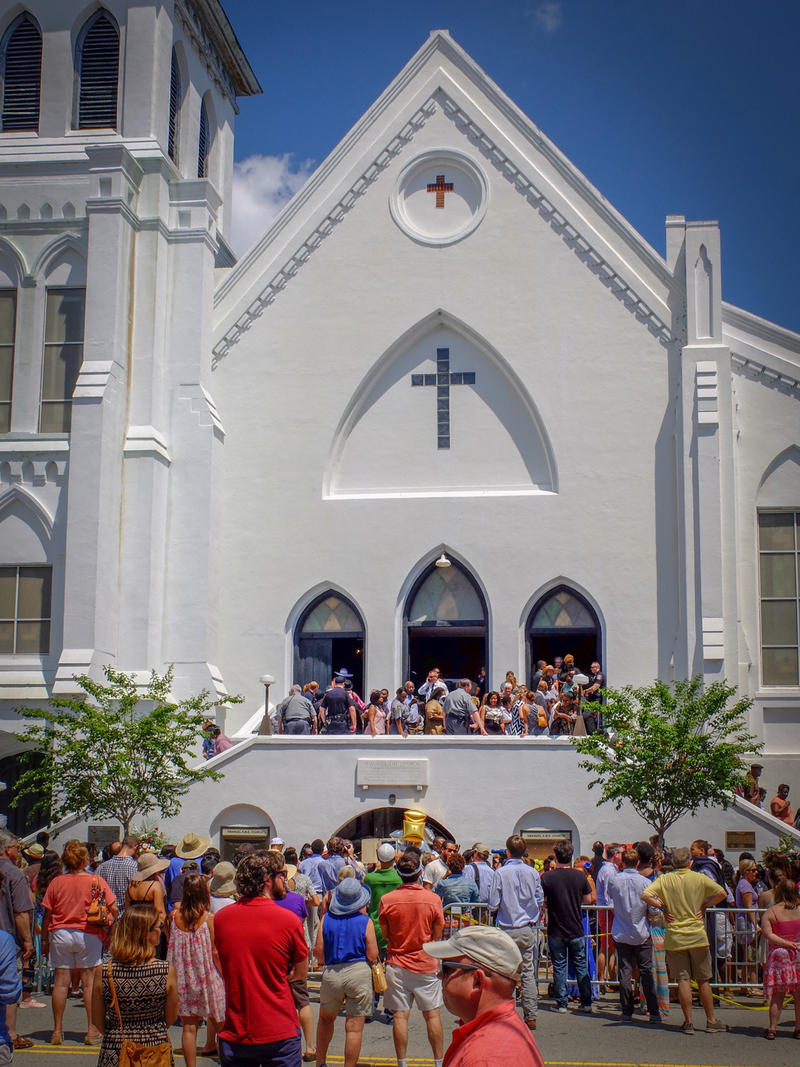 The scene outside Emanuel A.M.E. Church on Sunday, June 21, 2015